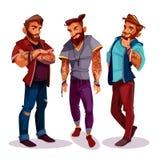 Διανυσματικά αραβικά hipsters κινούμενων σχεδίων με τις δερματοστιξίες, καθιερώνων τη μόδα ιματισμός διανυσματική απεικόνιση