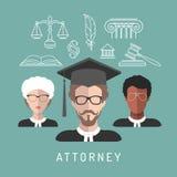 Διανυσματικά αρσενικά και θηλυκά app δικηγόρων εικονίδια με τα σύμβολα πληρεξούσιων στο επίπεδο ύφος Σημάδια ειδώλων προσώπων ανδ Στοκ εικόνες με δικαίωμα ελεύθερης χρήσης