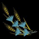 Διανυσματικά αυτιά σίτου κεντητικής και μπλε Cornflowers Στοκ Φωτογραφία