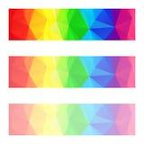 Διανυσματικά αφηρημένα εμβλήματα πολυγώνων με ένα σχέδιο τριγώνων με τη διαφορετική αδιαφάνεια - πλήρης λουρίδα ουράνιων τόξων χρ απεικόνιση αποθεμάτων