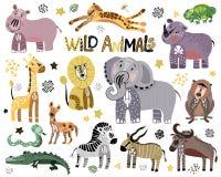 Διανυσματικά αφρικανικά ζώα κινούμενων σχεδίων απεικόνιση αποθεμάτων