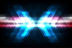 Διανυσματικά βέλη στην έννοια τεχνολογίας στο σκούρο μπλε υπόβαθρο Στοκ εικόνα με δικαίωμα ελεύθερης χρήσης