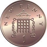 Διανυσματικά βρετανικά χρήματα, νόμισμα ένα μάνδρες απεικόνιση αποθεμάτων
