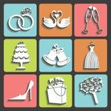 Διανυσματικά γαμήλια επίπεδα εικονίδια σχεδίου για τον Ιστό και κινητός Στοκ φωτογραφία με δικαίωμα ελεύθερης χρήσης