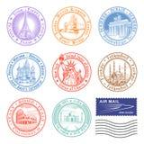 Διανυσματικά γραμματόσημα ταξιδιού διανυσματική απεικόνιση