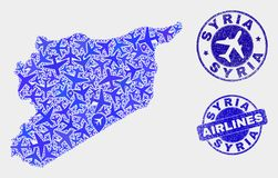 Διανυσματικά γραμματόσημα χαρτών και Grunge της Συρίας μωσαϊκών αεροσκαφών διανυσματική απεικόνιση
