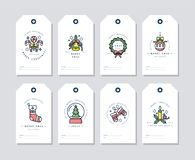 Διανυσματικά γραμμικά στοιχεία χαιρετισμών Χριστουγέννων σχεδίου στο άσπρο υπόβαθρο Ετικέττες Χριστουγέννων που τίθενται με την τ διανυσματική απεικόνιση