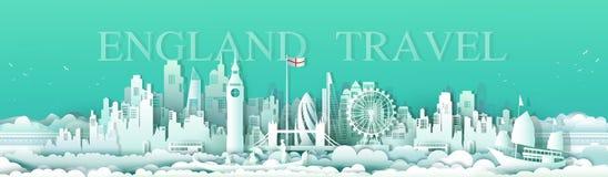 Διανυσματικά διάσημα ορόσημα Ευρώπη του Λονδίνου Αγγλία ταξιδιού απεικόνισης στοκ εικόνες