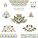Διανυσματικά εγκαταστάσεις και σύνορα χρώματος απεικόνισης καθορισμένα ανθίζοντας floral Στοκ Εικόνες