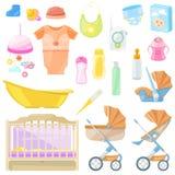 Διανυσματικά εικονίδια αγαθών μωρών και στοιχεία σχεδίου Ουσία παιδιών χρώματος για, βρεφικός σταθμός, λούσιμο, περπάτημα ελεύθερη απεικόνιση δικαιώματος