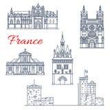 Διανυσματικά εικονίδια αρχιτεκτονικής του Μπορντώ ταξιδιού της Γαλλίας διανυσματική απεικόνιση