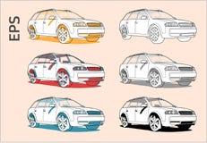 Διανυσματικά εικονίδια αυτοκινήτων που τίθενται για το αρχιτεκτονικές σχέδιο και την απεικόνιση απεικόνιση αποθεμάτων