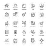 Διανυσματικά εικονίδια γραμμών δικτύων και επικοινωνίας Στοκ φωτογραφίες με δικαίωμα ελεύθερης χρήσης
