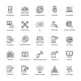 Διανυσματικά εικονίδια γραμμών δικτύωσης καθορισμένα Στοκ Φωτογραφία