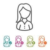 Διανυσματικά εικονίδια γυναικών στο λεπτό ύφος γραμμών και το επίπεδο σχέδιο Στοκ Φωτογραφία