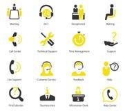 Διανυσματικά εικονίδια κέντρων υποστήριξης και CEO Στοκ Εικόνες