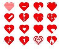 Διανυσματικά εικονίδια καρδιών καθορισμένα Στοκ Εικόνες