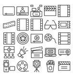 Διανυσματικά εικονίδια κινηματογράφων καθορισμένα που μπορούν να τροποποιηθούν εύκολα ή να εκδώσουν ελεύθερη απεικόνιση δικαιώματος