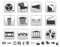 Διανυσματικά εικονίδια κινηματογράφων. Ταινία και τετραγωνικός γκρίζος Στοκ Εικόνες