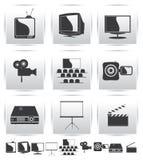 Διανυσματικά εικονίδια κινηματογράφων. Ταινία και τετραγωνικός γκρίζος Στοκ φωτογραφίες με δικαίωμα ελεύθερης χρήσης