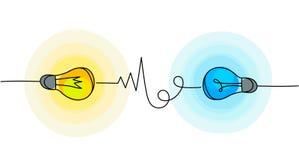 Διανυσματικά εικονίδια λαμπών φωτός Σύμβολα ενέργειας και ιδέας διανυσματική απεικόνιση