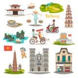 Διανυσματικά εικονίδια ορόσημων του Βιετνάμ καθορισμένα Διευκρινισμένη συλλογή ταξιδιού για το Βιετνάμ διανυσματική απεικόνιση