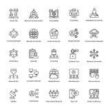 Διανυσματικά εικονίδια περιλήψεων δικτύων και επικοινωνίας Στοκ εικόνες με δικαίωμα ελεύθερης χρήσης