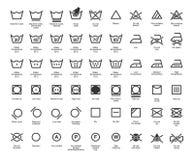 Διανυσματικά εικονίδια πλυντηρίων καθορισμένα, πλήρης συλλογή Στοκ Φωτογραφίες