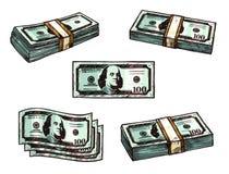 Διανυσματικά εικονίδια σκίτσων δεσμών τραπεζογραμματίων χρημάτων δολαρίων απεικόνιση αποθεμάτων