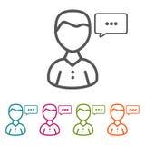 Διανυσματικά εικονίδια συνομιλίας ατόμων στο λεπτό ύφος γραμμών και το επίπεδο σχέδιο στοκ φωτογραφίες