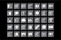 Διανυσματικά εικονίδια τεχνολογίας και Ιστού Στοκ Εικόνες