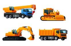Διανυσματικά εικονίδια των βαριών φορτηγών βιομηχανίας μηχανημάτων ελεύθερη απεικόνιση δικαιώματος