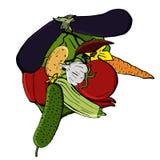Διανυσματικά εικονίδια των λαχανικών υπό μορφή ανθρώπινου κεφαλιού στο ύφος κινούμενων σχεδίων Συλλογή των αγροτικών προϊόντων γι Στοκ Φωτογραφία