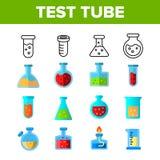 Διανυσματικά εικονίδια χρώματος σωλήνων και φιαλών δοκιμής καθορισμένα απεικόνιση αποθεμάτων