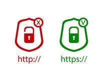 Διανυσματικά εικονίδια: HTTP και https πρωτόκολλα με την κλειδαριά, τα πράσινα και κόκκινα εικονίδια, τον έλεγχο και το σταυρό: Σ Στοκ Φωτογραφίες