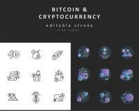 Διανυσματικά εικονίδιο και λογότυπο bitcoin και cryptocurrency Κτύπημα περιλήψεων Editable διανυσματική απεικόνιση
