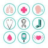 Διανυσματικά εικονίδια άσθματος Στοκ Φωτογραφίες