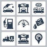 Διανυσματικά εικονίδια βενζινάδικων καθορισμένα Στοκ εικόνα με δικαίωμα ελεύθερης χρήσης