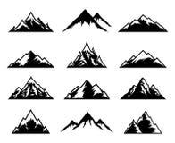 Διανυσματικά εικονίδια βουνών στο λευκό Στοκ φωτογραφία με δικαίωμα ελεύθερης χρήσης