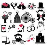 Διανυσματικά εικονίδια γαμήλιου σχεδίου για τον Ιστό και κινητός Στοκ Εικόνες
