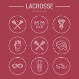 Διανυσματικά εικονίδια γραμμών αθλητικών παιχνιδιών λακρός Σφαίρα, ραβδί, κράνος, γάντια, προστατευτικά δίοπτρα κοριτσιών Γραμμικ ελεύθερη απεικόνιση δικαιώματος