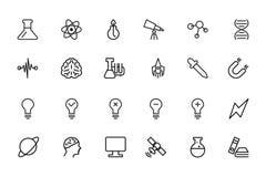 Διανυσματικά εικονίδια 1 γραμμών επιστήμης Στοκ εικόνες με δικαίωμα ελεύθερης χρήσης
