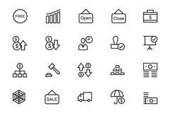 Διανυσματικά εικονίδια 6 γραμμών επιχειρήσεων και χρηματοδότησης Στοκ Εικόνες