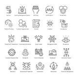 Διανυσματικά εικονίδια 46 γραμμών διοίκησης επιχειρήσεων και αύξησης ελεύθερη απεικόνιση δικαιώματος