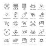 Διανυσματικά εικονίδια 49 γραμμών διοίκησης επιχειρήσεων και αύξησης ελεύθερη απεικόνιση δικαιώματος