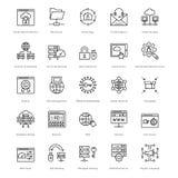 Διανυσματικά εικονίδια 58 γραμμών Ιστού και SEO Στοκ Φωτογραφίες