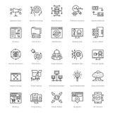 Διανυσματικά εικονίδια 57 γραμμών Ιστού και SEO Στοκ εικόνα με δικαίωμα ελεύθερης χρήσης