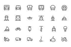 Διανυσματικά εικονίδια 1 γραμμών μεταφορών Στοκ Εικόνα