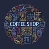 Διανυσματικά εικονίδια γραμμών ο εξοπλισμός ο καφές απομόνωσε το καθορισμένο λευκό Στοκ εικόνα με δικαίωμα ελεύθερης χρήσης