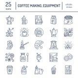 Διανυσματικά εικονίδια γραμμών του καφέ που κατασκευάζουν τον εξοπλισμό Στοιχεία - δοχείο moka, γαλλικός Τύπος, μύλος καφέ, espre διανυσματική απεικόνιση
